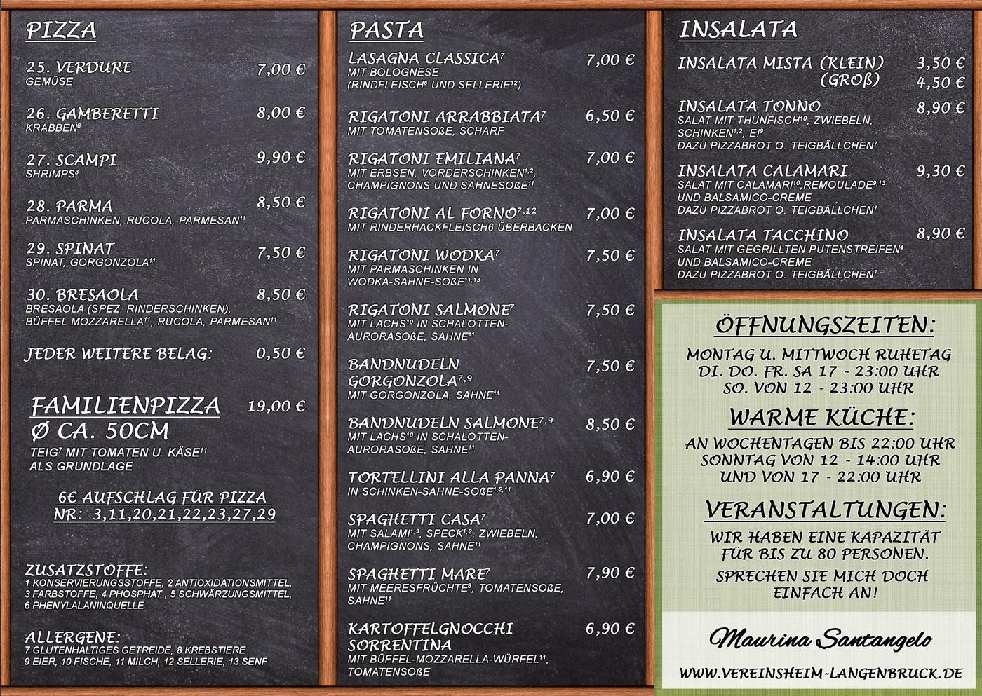 Speisekarte Pizzeria Lo Stadio